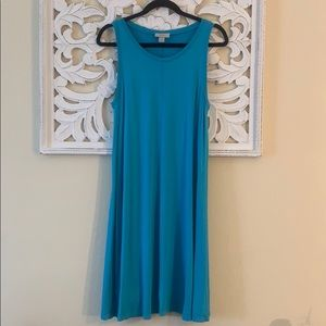 Loft Blue Solid Swing Dress